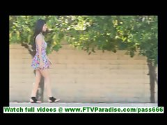 Leila incredibly hot brunette flashing and toying pussy in public and walking naked outdoors