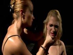 Blonde slave tormented by lez domina