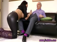 Attractive sensual raven strokes prick