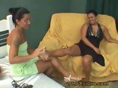 Slutty mom and daughter foot fetish masturbation lezzies
