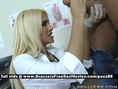 19 years old Blond doctor in her office