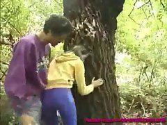 lecher catches a lewd german barely legal teen as she pisses in the woods