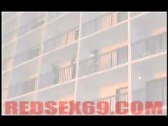 WTF sex on hotel balcony in public