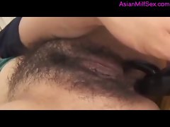 Cougar With Shaggy Cunt Rimming Sucks For Fellow While Vibrating sex toy Is In Her Stunning anal Cum To Mouth