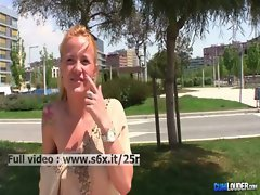 Samantha Sainz _ Filthy Blond showing her hooters and her quim in public outdoors