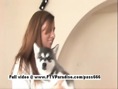 Cool babe Wendy redhead lassie playing with her dog