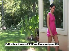 Cool girlie Loren dark haired young woman toying quim and masturbating outdoors