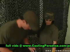 Jackie Daniels gagging fat dick in the army