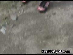 Huge hooters girlfriend stripping her rosy panties