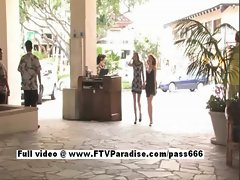 Faye and Larysa perfect lez sassy teen randy chicks posing in public