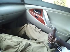 Enormous ebony pecker Jacking In Car