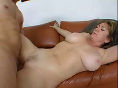 filthy experienced with extremely large tits bangs a man