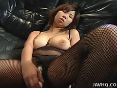 Mega big melons Asian young woman toy inserting