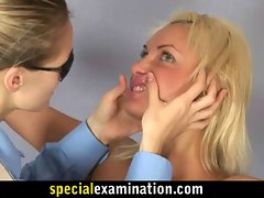 Lewd tempting blonde cutie gets gyno examination