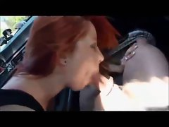Redhead college young lady gets banged in car