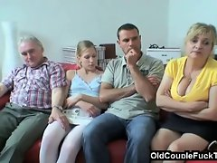 Elder couple seduces newlyweds