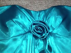 Teal Satin Homecoming Dress