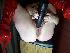 Huge Ebony Toy in Swollen Slit