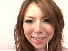 Excellent Rino Asuka in high heels toying a phallus in undies