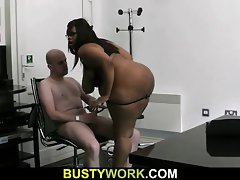 Chesty slutty ebony chubby rides white phallus