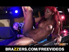 Perky lustful ebony stripper gets banged wild in the butt on stage