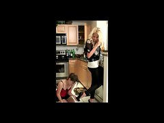 Lez Slave Cleans kitchen For Two Mistresses