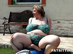 Obese femdom session with wild face sitting and phallus caressing