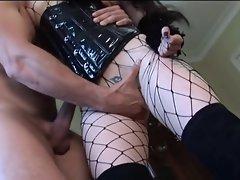 English whore Sasha gets shagged in a corset and fishnets