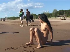Alluring raunchy teen bare their bodies at a nudist beach