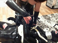 Rubberpet Leather Cuffed and Hogtied