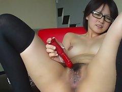 Seductive japanese 18yo seductive sensual girlie masturbation demonstrates her snatch