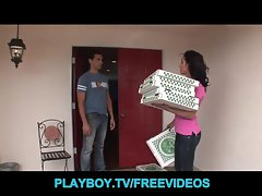 Pizza Delivery babe is seduced and banged by a customer