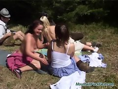 Group mountain fuck activity sex with alluring randy chicks licking