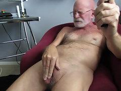 Bald Dad Man-clit Caress & Jism