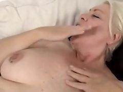 Aged Blond Masturbates