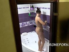 Czech Doll Petra Bare in the bathroom hidden spy webcam