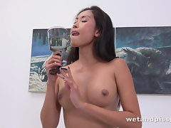 HD Pissing - Nasty Asian gives herself a golden douche