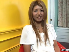 Vapid chested cutie Rie Mihara fucktoys herself and masturbates so