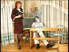 Mature teaches her student