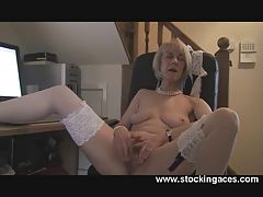 Mature Stocking Office Pussy Play