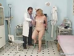 Mature Stazka gyno fetish real exam at kinky gyno office