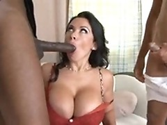 Busty MILF bitch Sienna West getting double fucked in black lingerie