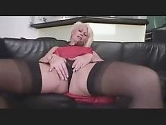 Mature Lady Sally teasing in stockings & heels
