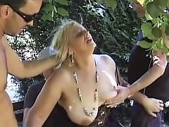Mature blonde dp'd in park