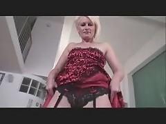 Mature Lady Sally teasing in stockings & heels