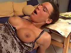 Milf in Stockings and Glasses Sucks and Fucks