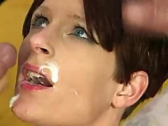 Gorgeous mature taking facial - who is she?