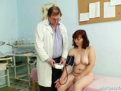 Old Zita mature pussy speculum examination at bizzare gyno clinic