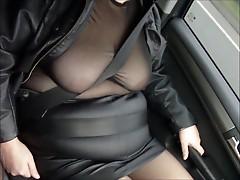 Leather mini skirt black seamed stockings