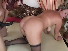 Two Mature Ladies Finger and Toy in Stockings